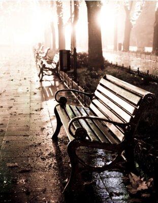 Ławka w nocy aleja z sygnalizatorów w Odessie ,