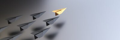 Obraz Leadership concept, yellow leader plane leading black planes, with empty space on right side. 3D Rendering