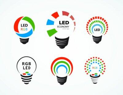 Obraz Led lightbuld logo symbol sign economy Lamp set