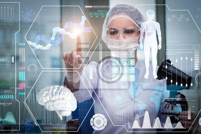 Obraz Lekarz w futurystycznym koncepcji medycznej naciśnięcie przycisku