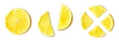 Obraz Lemon slices isolated on white, from above
