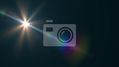 Obraz Lens Flare światła na czarnym tle. Łatwe dodawanie nakładki lub sitko na zdjęciach