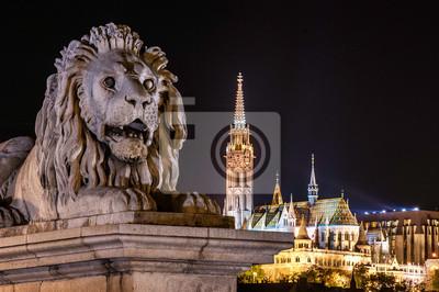 Leon od mostu łańcucha, Budapeszt, Węgry
