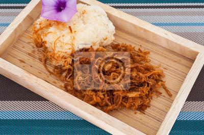 Lepki ryż z patelni Wieprzowina w kuchni tajskiej,