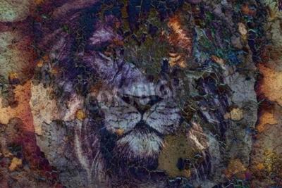 Obraz Lew twarzy rysunek na vintage papier collage, abstrakcyjne t? A. kontakt wzrokowy.