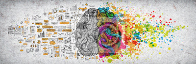 Obraz Lewy prawy ludzki mózg pojęcie, textured ilustracja. Kreatywna lewa i prawa część ludzkiego mózgu, części emocjonalne i logiczne z częściami społecznościowymi i biznesowymi doodle ilustracji lewej str