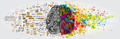 Obraz Lewy prawy pomysł ludzkiego mózgu. Część twórcza i logika z doodlem społecznym i biznesowym