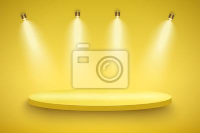 Obraz Light box z żółtą platformą prezentacyjną na jasnym tle z czterema światłami punktowymi. Edytowalne tło wektor ilustracja.
