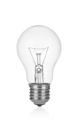 Obraz Light bulb close up isolated on white background
