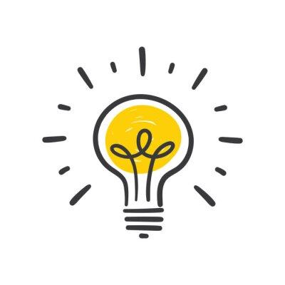 Obraz Light bulb doodle, hand drawn idea icon.