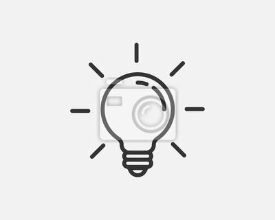 Obraz Light bulb icon vector. Llightbulb idea logo concept. Lamp electricity icons web design element. Led lights isolated silhouette.