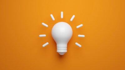 Obraz Light bulb idea concept top view on orenge background. 3D rendering