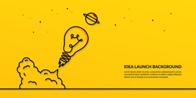 Obraz Light bulb launching to space on yellow background, flat start up idea concept