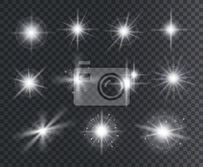 Obraz Light effect. White star sparks, bright flare with rays. Magic glowing dust particles. Christmas abstract elements isolated vector set. Illustration magic flare, sparkle vibrant christmas star