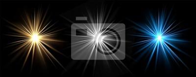 Obraz Light effects. Vector light stars. Glow bursts isolated on black background. Illustration flash light effect, blue and white