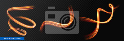 Obraz Light trails, golden glitter glow and sparkling flare spiral swirls on transparent background. Abstract vector fire light effect waves and glittering tails