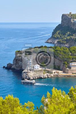 Lighthouse in Port de Soller Majorca, Spain.