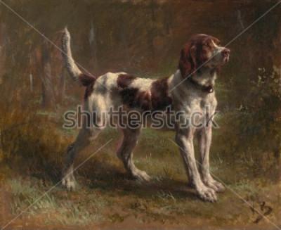 Obraz LIMIER BRIQUET HOUND, autorstwa Rosa Bonheur, 1856, francuski obraz, olej na płótnie. To przez portret psa Vicarte dArmaille. Bonheur był mistrzem malarstwa zwierzęcego i najbardziej znanym Eur