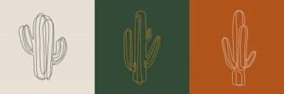 Obraz Line art cactus illustrations. Eps10 vector.