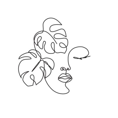 Obraz Line drawing of the profile of a woman with flowing hair and flowers, for organic cosmetics