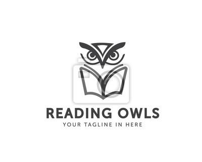 Obraz linia sztuki projektowanie logo książki Sowa, logo książki sowa uczelni