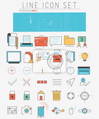 Linia Vector zestaw ikon. Elementy Web design i elementy biznesowych w