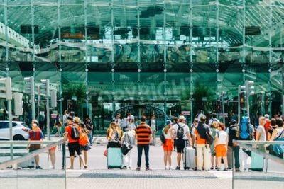 LISBON, PORTUGAL - AUGUST 10, 2017: View From Gare do Oriente (Lisbon Oriente Station) Towards Vasco da Gama Shopping Center Mall.