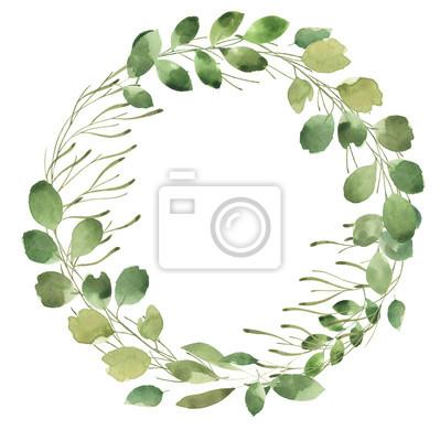 Liść Liściasty. Zielone akwarele i kwiatowy wianek # 1