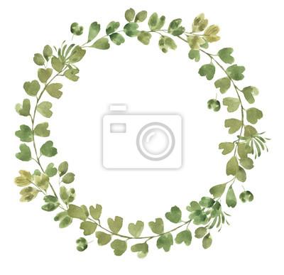 Liść Liściasty. Zielone akwarele i kwiatowy wianek # 2