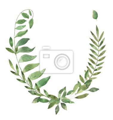 Liść Liściasty. Zielone akwarele i kwiatowy wianek # 4