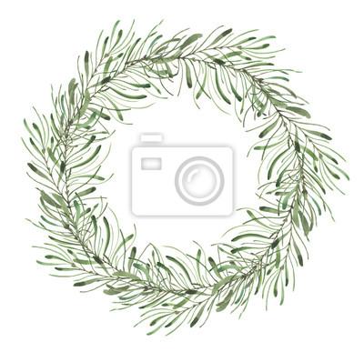 Liść Liściasty. Zielone akwarele i kwiatowy wianek # 5