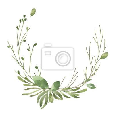 Liść Liściasty. Zielone akwarele i kwiatowy wianek # 6