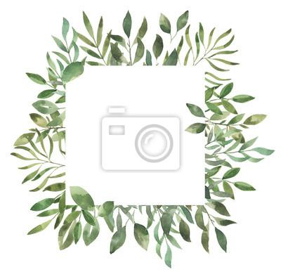 Liść Liściasty. Zielone akwarele i kwiecista geometryczna rama -2