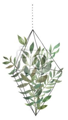 Liść Liściasty. Zielone akwarele terrarium z liśćmi # 1