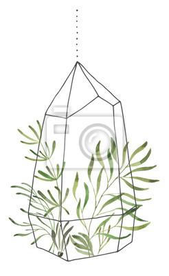Liść Liściasty. Zielone akwarele terrarium z liśćmi # 2