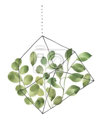 Liść Liściasty. Zielone akwarele terrarium z liśćmi # 3