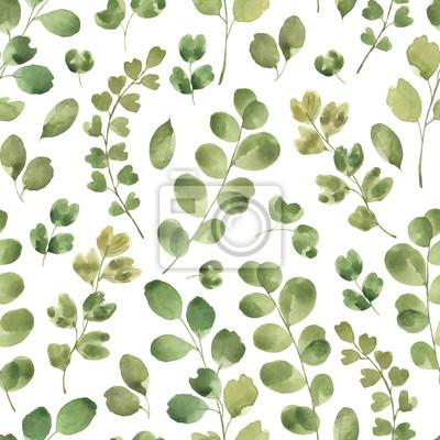 Liść Liściasty. Zielone kwiaty akwarela i kwiatowy wzór # 1