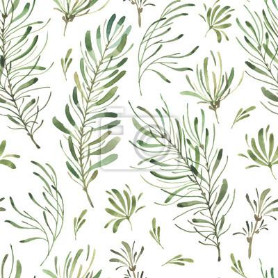 Liść Liściasty. Zielone kwiaty akwarela i kwiatowy wzór # 2