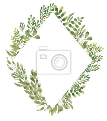 Liść Liściasty. Zielone kwiaty akwarela i kwieciste geometryczne ramki # 3