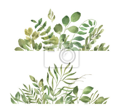 Liść Liściasty. Zielone kwiaty akwarela i obramowanie florals