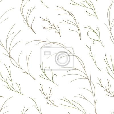 Liść Liściasty. Zielone kwiaty akwarele i kwiatowy wzór # 3