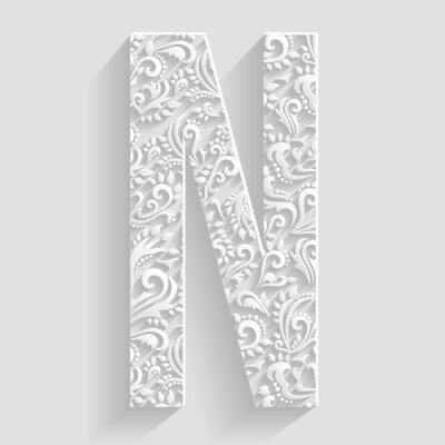 Obraz List N. Wektor kwiatowy zaproszenia dekoracyjnej Font