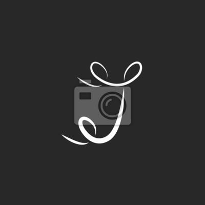 Obraz Litera J Logo Z Loki Tatuaż Projektowania Litery Monogram Na