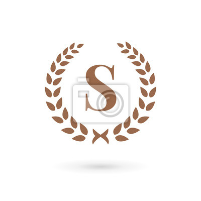Obraz Litera S Wieniec Laurowy Logo Ikony Elementy Projektowania
