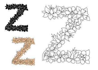 Obraz Litera Z zdobione zabytkowe elementy kwiatowe