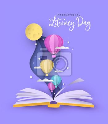 Obraz Literacy Day open book papercut hot air balloon