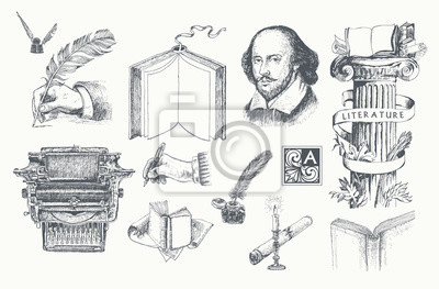 Obraz Literature hand drawn vector set. Inkwell, writing tools, pens, books, ancient manuscripts, typewriter, antique column. Engraving style