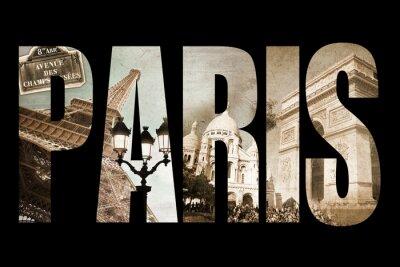 Obraz Litery Photo Collage PARIS, samodzielnie na czarnym tle, vintage proces