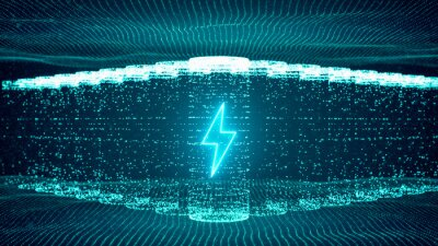 Obraz Lithium ion battery starts recharging electric energy supply, fast charging technology concept, abstract futuristic 3d rendering illustration digital cyberspace particle background