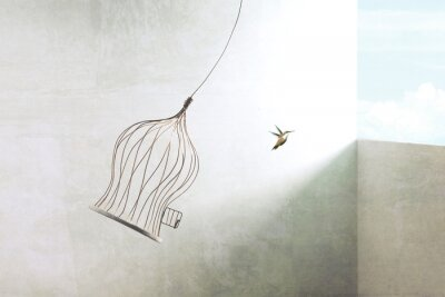 Obraz little bird flying out of birdcage